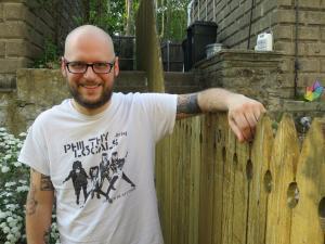 Eric Hansen in Joseph's backyard