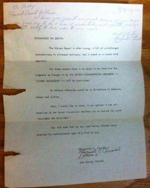 Lee Harvey Oswald mother letter